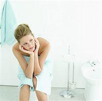 an ill woman in the bathroom Stock Photo - Premium Royalty-Freenul