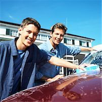 Portrait of a father and teenage son (18-20) washing the car Stock Photo - Premium Royalty-Freenull, Code: 618-00499950