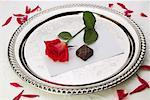 Rose and Chocolate on Silver Tray    Stock Photo - Premium Rights-Managed, Artist: Boden/Ledingham, Code: 700-00514909