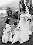 Bride with Maid of Honor and Flower Girl