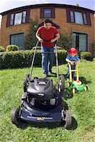 Father and Son Mowing the Lawn    Stock Photo - Premium Rights-Managednull, Code: 700-00519473