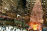 Skating Rink and Christmas Tree At Rockefeller Center, New York City, New York, USA