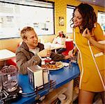 Man Flirting With Waitress In Diner    Stock Photo - Premium Rights-Managed, Artist: Horst Herget, Code: 700-00521552