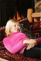 Teenage Girl With Kitten, British Columbia, Canada    Stock Photo - Premium Rights-Managednull, Code: 700-00522277