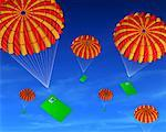 Parachutes with Cards Falling From Sky    Stock Photo - Premium Rights-Managed, Artist: Guy Grenier, Code: 700-00524220