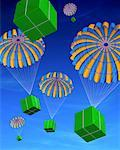 Parachutes with Boxes Falling From Sky    Stock Photo - Premium Rights-Managed, Artist: Guy Grenier, Code: 700-00524223