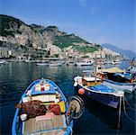 Fishing Boats in Harbour, Salerno, Amalfi, Italy