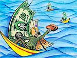 Business People Sailing with Currency    Stock Photo - Premium Rights-Managed, Artist: Wei Yan, Code: 700-00527055