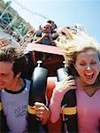 Couple on Roller Coaster    Stock Photo - Premium Rights-Managed, Artist: Jeremy Maude, Code: 700-00528746