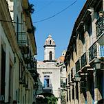 Street Scene in Old Havana with View of Cathedral, Havana, Cuba