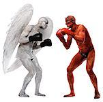 Angel and Devil Boxing    Stock Photo - Premium Rights-Managed, Artist: Bruce Fleming, Code: 700-00544246