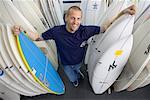 Man with Surfboards    Stock Photo - Premium Rights-Managed, Artist: Tim Mantoani, Code: 700-00546720