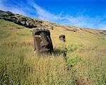 Moai, Rano Raraku, Easter Island, Chile    Stock Photo - Premium Rights-Managed, Artist: Mark Downey, Code: 700-00546786