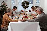 Family Praying at Christmas Dinner    Stock Photo - Premium Rights-Managed, Artist: Jerzyworks, Code: 700-00547141