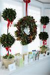 Christmas Wreath, Plants and Cards on Window Sill    Stock Photo - Premium Rights-Managed, Artist: Jerzyworks, Code: 700-00547203