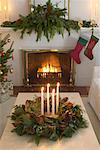 Christmas Stockings by Fireplace    Stock Photo - Premium Rights-Managed, Artist: Jerzyworks, Code: 700-00547215
