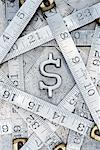 Dollar Sign and Folding Ruler    Stock Photo - Premium Rights-Managed, Artist: David Muir, Code: 700-00551163