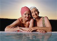 seniors and swim cap - Portrait of Women by Swimming Pool    Stock Photo - Premium Rights-Managednull, Code: 700-00552876