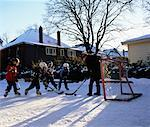 Family Playing Hockey Outdoors    Stock Photo - Premium Rights-Managed, Artist: Wayne Eardley, Code: 700-00553866