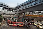 Traffic Under the BTS Skytrain Rails, Bangkok, Thailand