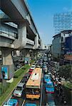 Traffic and the BTS Skytrain Rails, Bangkok, Thailand