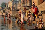 Pilgrims on the Ganges River, Varanasi, Uttar Pradesh, India    Stock Photo - Premium Rights-Managed, Artist: Mark Downey, Code: 700-00554552
