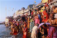 Pilgrims on the Ganges River, Varanasi, Uttar Pradesh, India    Stock Photo - Premium Rights-Managednull, Code: 700-00554558