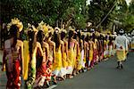 Procession of Young Women Down The Street, Bali, Indonesia