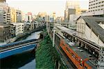 Overview of Train Station in City, Tokyo, Japan    Stock Photo - Premium Rights-Managed, Artist: Mark Downey, Code: 700-00554782