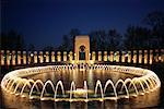 National World War II Memorial Water Fountain at Dusk, Washington D.C., USA    Stock Photo - Premium Rights-Managed, Artist: Larry Fisher, Code: 700-00555027