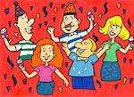 Illustration of People at a Party    Stock Photo - Premium Rights-Managed, Artist: Wei Yan, Code: 700-00555948