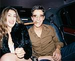 Portrait of Couple in Backseat of Car    Stock Photo - Premium Rights-Managed, Artist: Mark Leibowitz, Code: 700-00556879