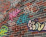Graffiti on Brick Wall    Stock Photo - Premium Rights-Managed, Artist: Guy Grenier, Code: 700-00561097