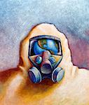 Illustration of Person Wearing Gas Mask With Reflection Of Earth    Stock Photo - Premium Rights-Managed, Artist: James Wardell, Code: 700-00561222