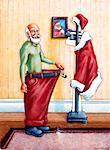 Illustration of Santa Claus Showing Weight Loss