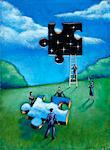 Illustration of People Putting Jigsaw Puzzle Piece in Sky