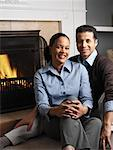Portrait of Couple by Fireplace    Stock Photo - Premium Rights-Managed, Artist: Tom Feiler, Code: 700-00588686