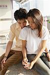 Couple Using Electronic Organizer    Stock Photo - Premium Rights-Managed, Artist: dk & dennie cody, Code: 700-00588987