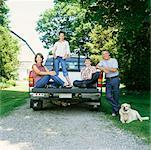 Family in Back of Pickup Truck    Stock Photo - Premium Rights-Managed, Artist: Masterfile, Code: 700-00590730