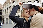 Couple in Rain by Colosseum, Rome, Italy    Stock Photo - Premium Rights-Managed, Artist: Mark Leibowitz, Code: 700-00591474
