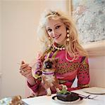 Woman at Table with Chihuahua    Stock Photo - Premium Rights-Managed, Artist: Masterfile, Code: 700-00604926