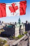 Canadian Flag and Hotel de Ville, Montreal, Quebec, Canada    Stock Photo - Premium Rights-Managed, Artist: Jeremy Woodhouse, Code: 700-00605299