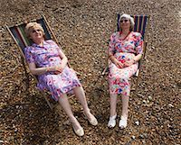 sleepy old woman - Two Women Sitting in Beach Chairs    Stock Photo - Premium Rights-Managednull, Code: 700-00607077