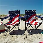Beach Chairs with American Flag    Stock Photo - Premium Rights-Managed, Artist: Marnie Burkhart, Code: 700-00609176