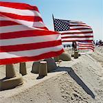 American Flags on Sandcastle