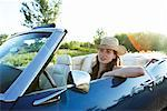 Woman Driving Convertible    Stock Photo - Premium Rights-Managed, Artist: Horst Herget, Code: 700-00609419