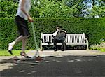 Man Reading Newspaper on Park Bench    Stock Photo - Premium Rights-Managed, Artist: Masterfile, Code: 700-00609882