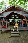 Boy in Cabin, Ontario Pioneer Camp, Port Sydney, Ontario, Canada    Stock Photo - Premium Rights-Managed, Artist: Michael Mahovlich, Code: 700-00610962