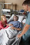 Wife Visiting Husband in Hospital    Stock Photo - Premium Rights-Managed, Artist: Graham French, Code: 700-00610982