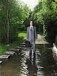 Businessman Standing in Puddle    Stock Photo - Premium Rights-Managed, Artist: Masterfile, Code: 700-00611247